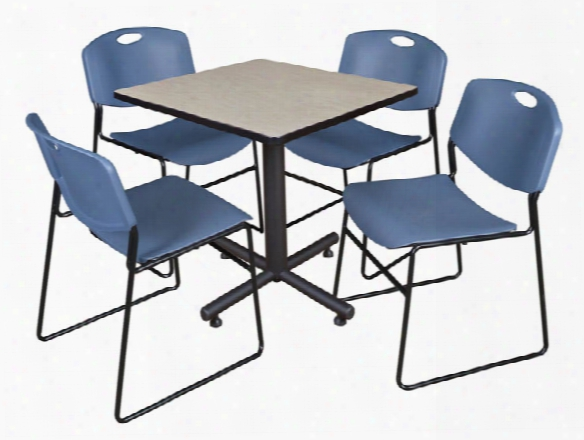 "30"" Square Breakroom Table- Maple & 4 Zeng Stack Chairs By Regency Furniture"