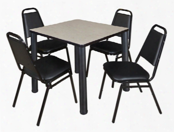 "30"" Square Breakroom Table- Maple/ Black & 4 Restaurant Stack Chairs- Black By Regency Furniture"