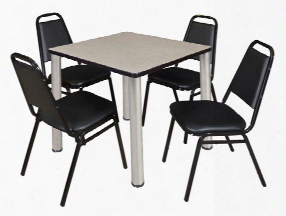 """30"""" Square Breakroom Table- Maple/ Chrome & 4 Restaurant Stack Chairs- Black By Regency Furniture"""