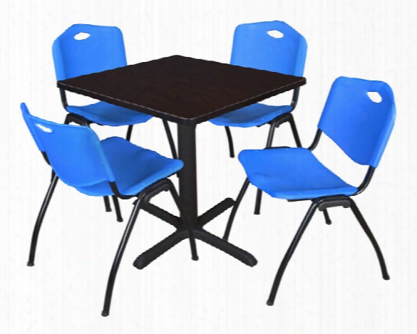 """30"""" Square Breakroom Table- Mocha Walnut & 4 'm' Stack Chairs By Regency Furniture"""
