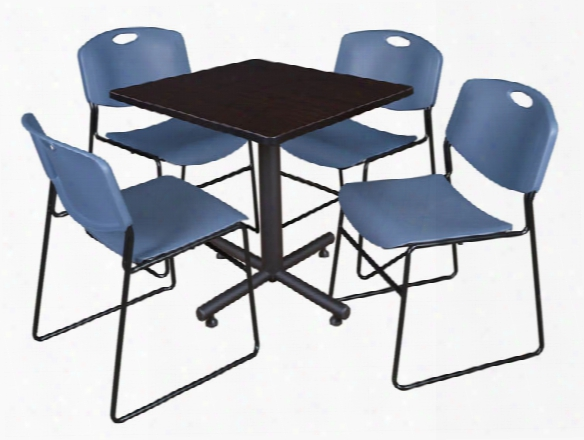 "30"" Square Breakroom Table- Mocha Walnut & 4 Zeng Stack Chairs By Regency Furniture"