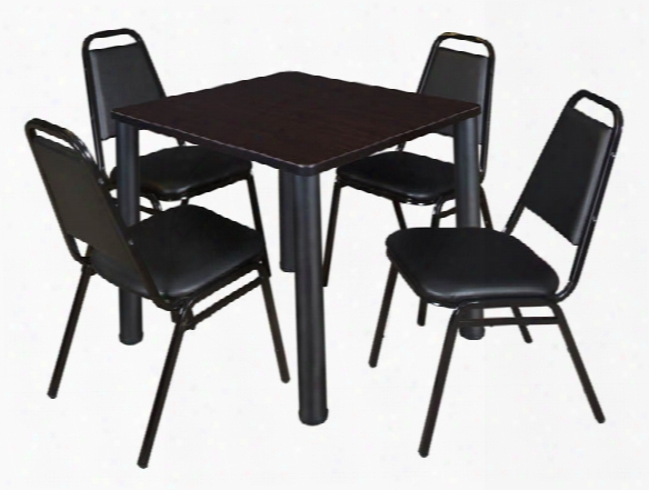 "30"" Square Breakroom Table- Mocha Walnut/ Black & 4 Restaurant Stack Chairs- Black By Regency Furniture"