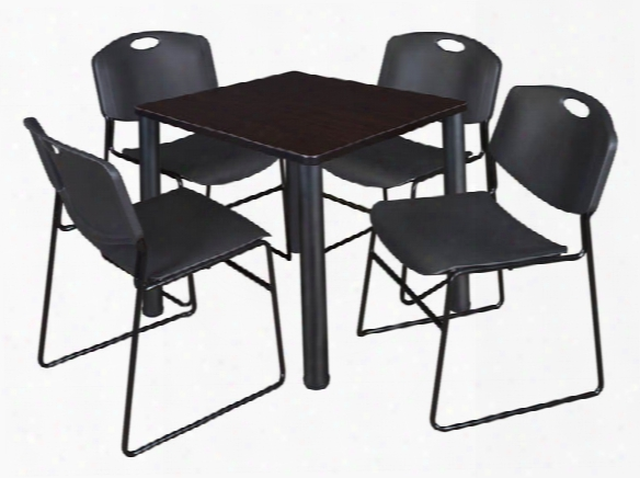 "30"" Square Breakroom Table- Mocha Walnut/ Black & 4 Zeng Stack Chairs By Regency Furniture"