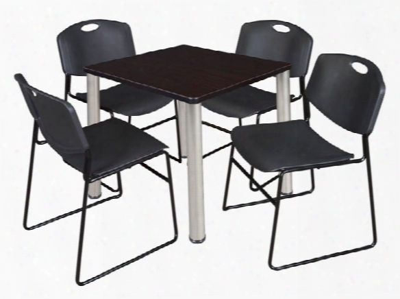 "30"" Square Breakroom Table- Mocha Walnut/ Chrome & 4 Zeng Stack Chairs By Regency Furniture"