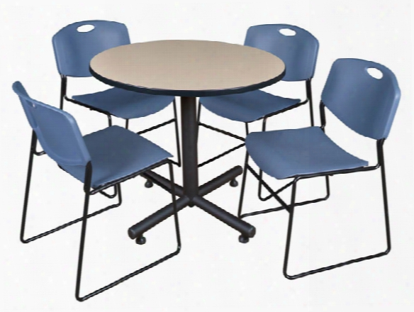 """36"""" Round Breakroom Table- Beige & 4 Zeng Stack Chairs By Regency Furniture"""