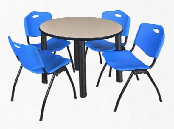 "36"" Round Breakroom Table- Beige/ Black & 4 'm' Stack Chairs By Regency Furniture"