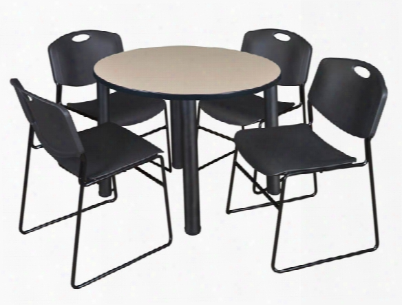 "36"" Round Breakroom Table- Beige/ Black & 4 Zeng Stack Chairs By Regency Furniture"