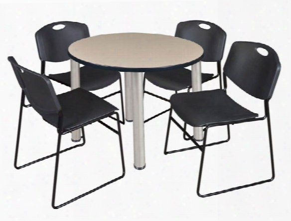 """36"""" Round Breakroom Table- Beige/ Chrome & 4 Zeng Stack Chairs By Regency Furniture"""