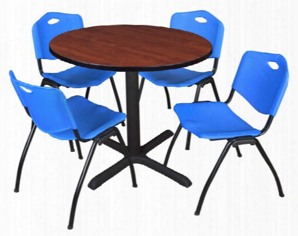 "36"" Round Breakrook Table- Cherry & 4 'm' Stack Chairs By Regency Furniture"