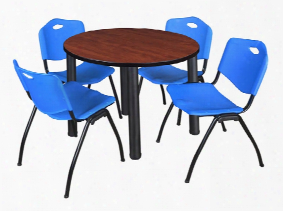 "36"" Round Breakroom Table- Cehrry/ Black & 4 'm' Stack Chairs By Regency Furniture"