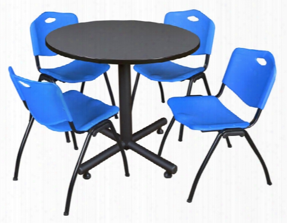 "36"" Round Breakroom Table- Gray & 4 'm' Stack Chairs By Regency Furniture"