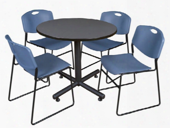 """36"""" Round Breakroom Table- Gray & 4 Zeng Stack Chairs By Regency Furniture"""