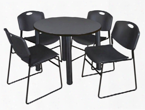 "36"" Round Breakroom Table- Gray/ Black & 4 Zeng Stack Chairs  By Regency Furniture"