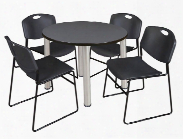 """36"""" Round Breakroom Table- Gray/ Chrome & 4 Zeng Stack Chairs By Regency Furniture"""