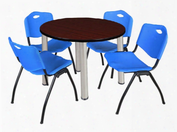 """36"""" Round Breakroom Table- Mahogany/ Chrome & 4 'm' Stack Chairs By Regency Furniture"""