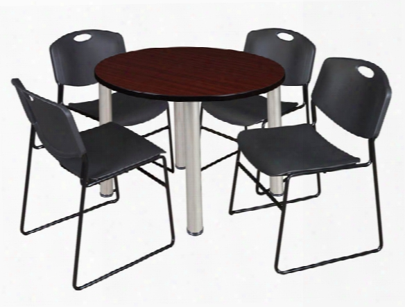 "36"" Round Breakroom Table- Mahogany/ Chrome & 4 Zeng Stack Chairs By Regency Furniture"