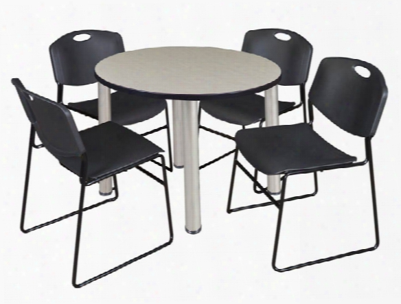 "36"" Round Breakroom Table- Maple/ Chrome & 4 Zeng Stack Chairs By Regency Furniture"