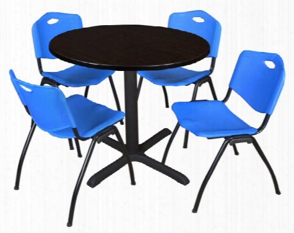 "36"" Round Breakroom Table- Mocha Walnut & 4 'm' Stack Chairs By Regency Furniture"