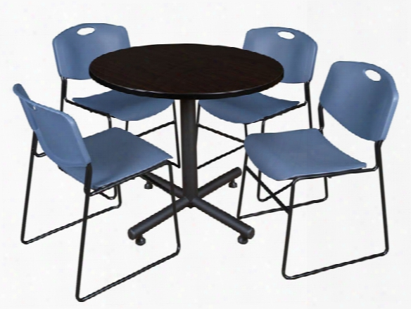 "36"" Round Breakroom Table- Mocha Walnut & 4 Zeng Stack Chairs By Regency Furniture"