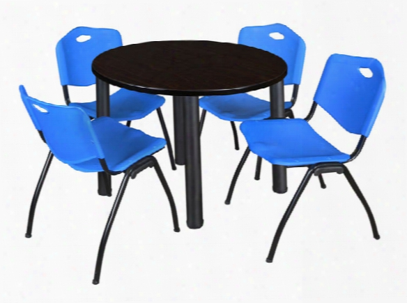 "36"" Round Breakroom Table- Mocha Walnut/ Black & 4 'm' Stack Chairs By Regency Furniture"