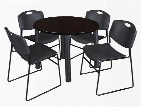 "36"" Round Brakroom Table- Mocha Walnut/ Black & 4 Zeng Stack Chairs By Regency Furniture"