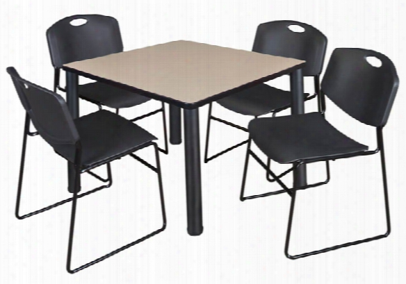 "36"" Square Breakroom Table- Beige/ Black & 4 Zeng Stack Chairs By Regency Furniture"