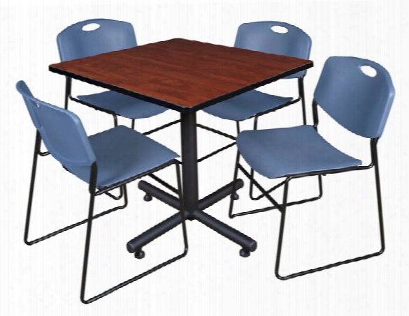"36"" Square Breakroom Table- Cherry & 4 Zeng Stack Chairs By Regency Furniture"