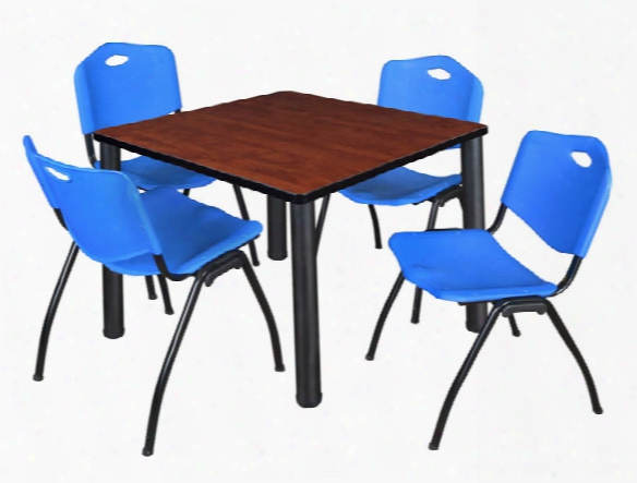 "36"" Square Breakroom Table- Cherry/ Black & 4 'm' Stack Chairs By Regency Furniture"