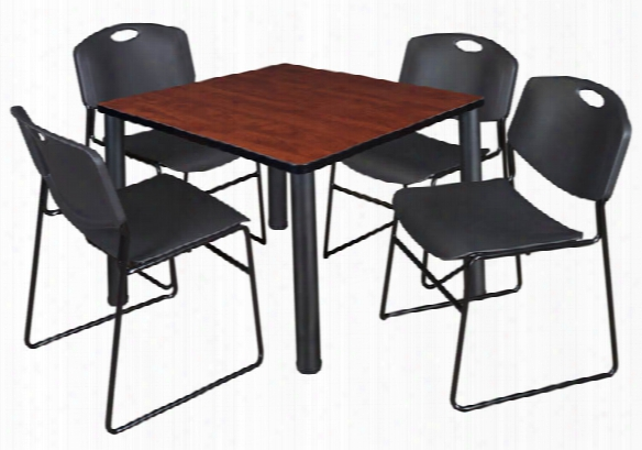 """36"""" Square Breakroom Table- Cherry/ Black & 4 Zeng Stack Chairs By Regency Furniture"""
