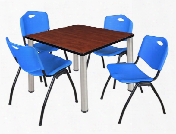 "36"" Squa Re Breakroom Table- Cherry/ Chrome & 4 'm' Stack Chairs By Regency Furniture"