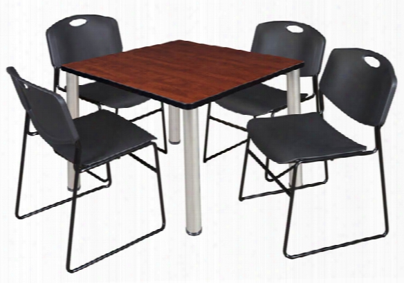"36"" Square Breakroom Table- Cherry/ Chrome & 4 Zeng Stack Chairs By Regency Furniture"