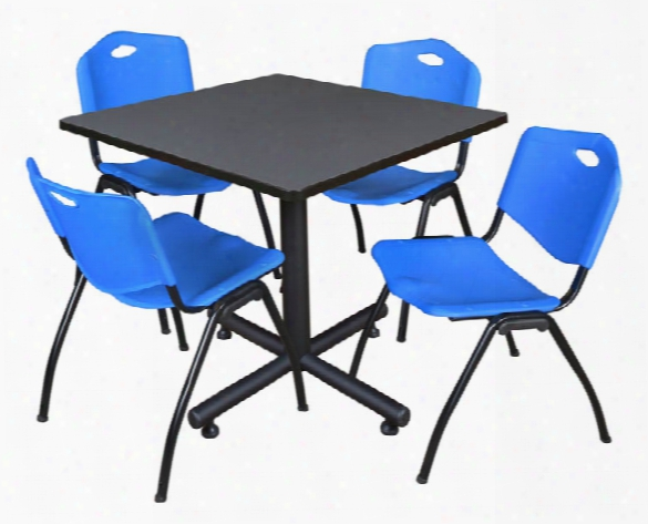 "36"" Square Breakroom Table- Gray & 4 'm' Stack Chairs By Regency Furniture"