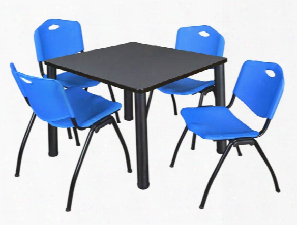 "36"" Square Breakroom Table- Gray/ Black & 4 'm' Stack Chairs By Regency Furniture"