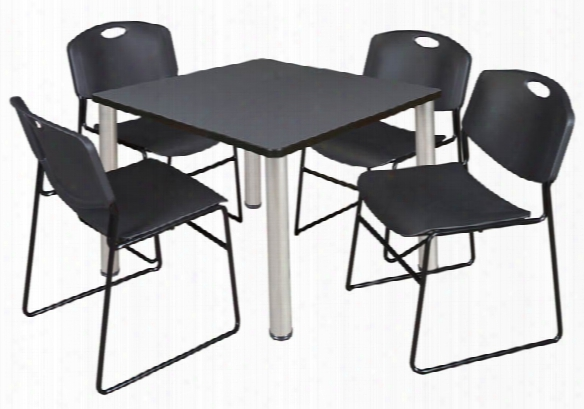 "36"" Square Breakroom Table- Gray/ Chrome & 4 Zeng Stack Chairs By Regency Furniture"