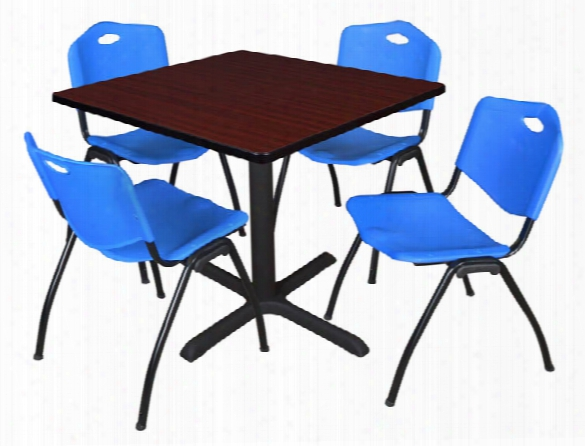 "36"" Square Breakroom Table- Mahogany & 4 'm' Stack Chairs By Regency Furniture"
