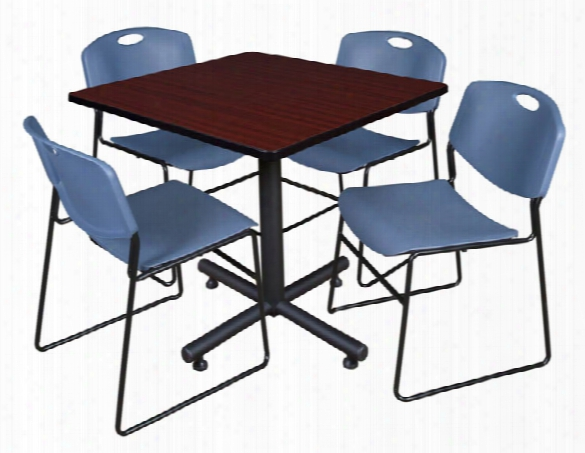 "36"" Square Breakroom Table- Mahogany & 4 Zeng Stack Chairs By Regency Furniture"