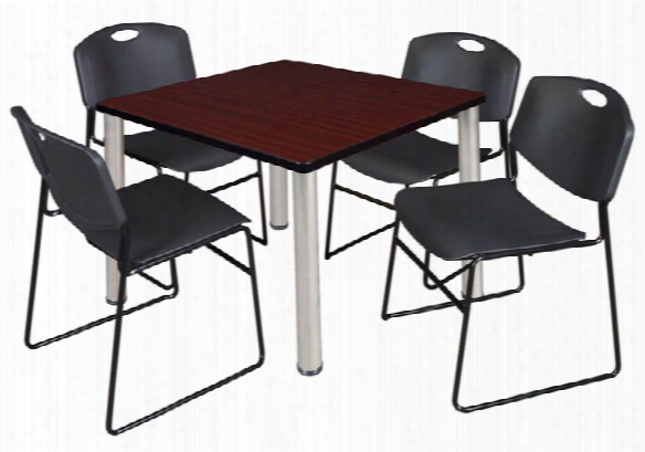 "36"" Square Breakroom Table- Mahogany/ Chrome & 4 Zeng Stack Chairs By Regency Furniture"