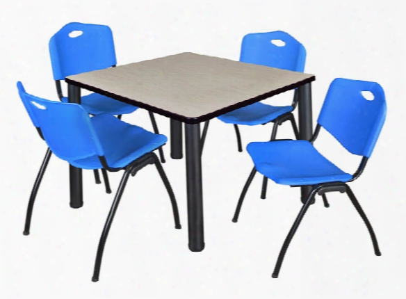 "36""s Quare Breakroom Table- Maple/ Black & 4 'm' Stack Chairs By Regency Furniture"