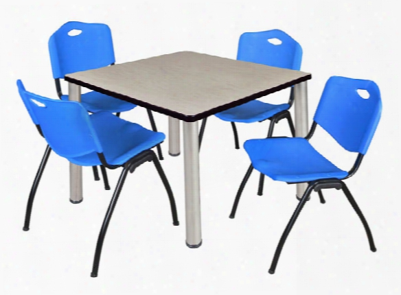 """36"""" Square Breakroom Table- Maple/ Chrome & 4 'm' Stack Chairs By Regency Furniture"""