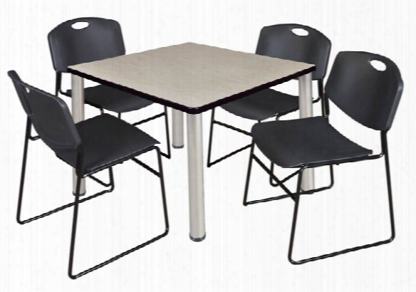 """36"""" Square Brearoom Table- Maple/ Chrome & 4 Zeng Stack Chairs By Regency Furniture"""