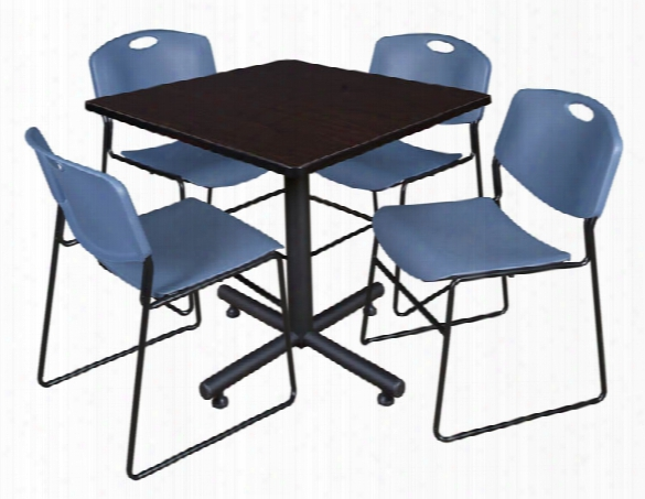 "36"" Square Breakroom Table- Mocha Walnut & 4 Zeng Stack Chairs By Regency Furniture"