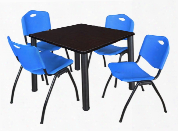 "36"" Square Breakroom Table- Mocha Walnut/ Black & 4 'm' Stack Chairs By Regency Furniture"
