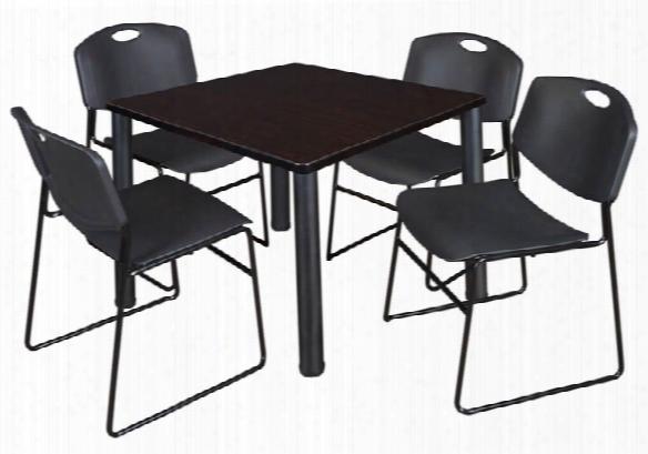 "36"" Square Breakroom Table- Mocha Walnut/ Black & 4 Zeng Stack Chairs By Regency Furniture"