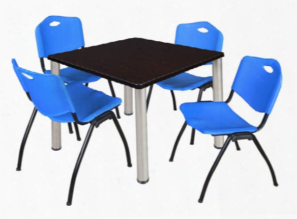 """36"""" Square Breakroom Table- Mocha Walnut/ Chrome & 4 'm' Stack Chairs By Regency Furniture"""