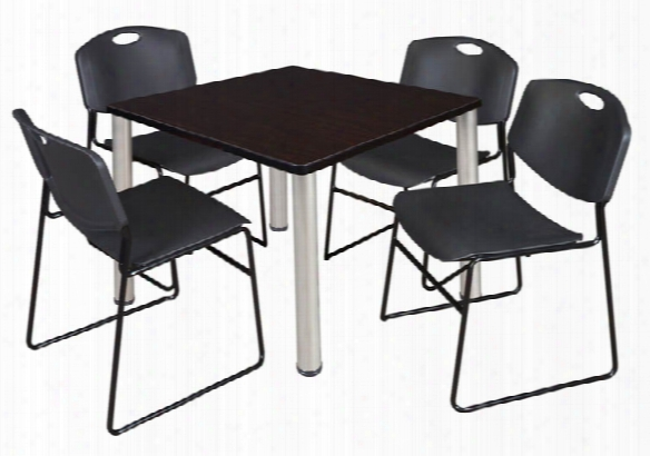 "36"" Square Breakroom Table- Mocha Walnut/ Chrome & 4 Zeng Stack Chairs By Regency Furniture"
