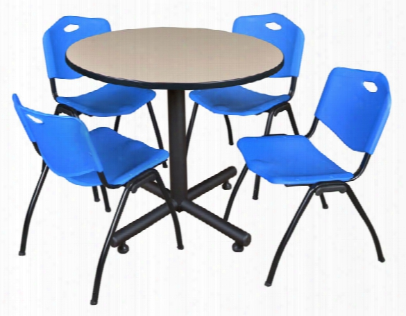 "42"" Round Breakroom Table- Beige & 4 'm' Stack Chairs By Regency Furniture"