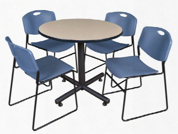 "42"" Round Breakroom Table- Beige & 4 Zeng Stack Chairs By Regency Furniture"
