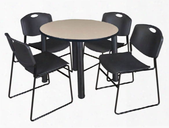 "42"" Round Breakroom Table- Beige/ Black & 4 Zeng Stack Chairs By Regency Furniture"