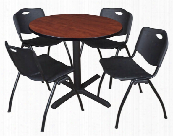"42"" Round Breakroom Table- Cherry & 4 'm' Stack Chairs By Regency Furniture"