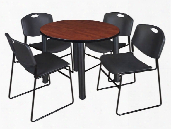"42"" Round Breakroom Table- Cherry/ Black & 4 Zeng Stack Chairs By Regency Furniture"